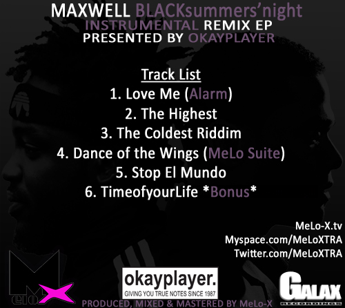 Maxwell BLACKsummers'night Instrumental Remix EP Back Cover