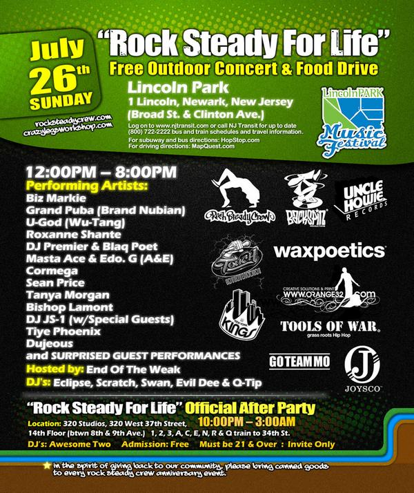 "Rocksteady Crew ""Rock Steady for Life"" Concert & Food Drive"