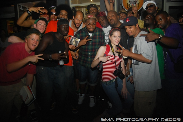 "Fresh Daily & the fam outside Fat Beats for the ""Gorgeous Killer..."" in-store"